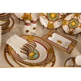 Luxury Design European Royal Bone China Dinnerware Set 69 piece service for 10