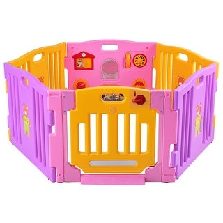 Costway Pink 6 Panel Baby Playpen Kids Safety Play Center Yard Home