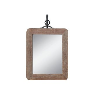Small Wood Framed Rectangle Wall Mirror with Black Metal Hanging Bracket (Set of 2 Pieces) - Distressed Natural