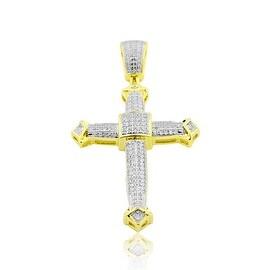 10K Gold Diamond Cross Mens 48mm Tall 1/2cttw