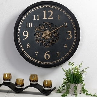 """Glitzhome 22.8""""D Morden Metal Wall Clock with Moving Gears"""
