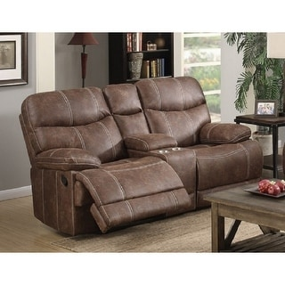 Copper Grove Kulia Reclining Brown Faux Leather Loveseat