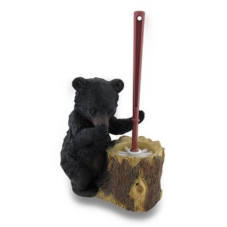 Black Bear Butler Toilet Brush and Holder 2 Piece Set - 15.5 X 9 X 5 inches