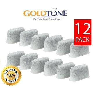 GoldTone Activated Carbon Charcoal Water Filters Fits All Cuisinart Coffee Machines - DCC-RWF, Replacement Eco Filters (12 Pack)