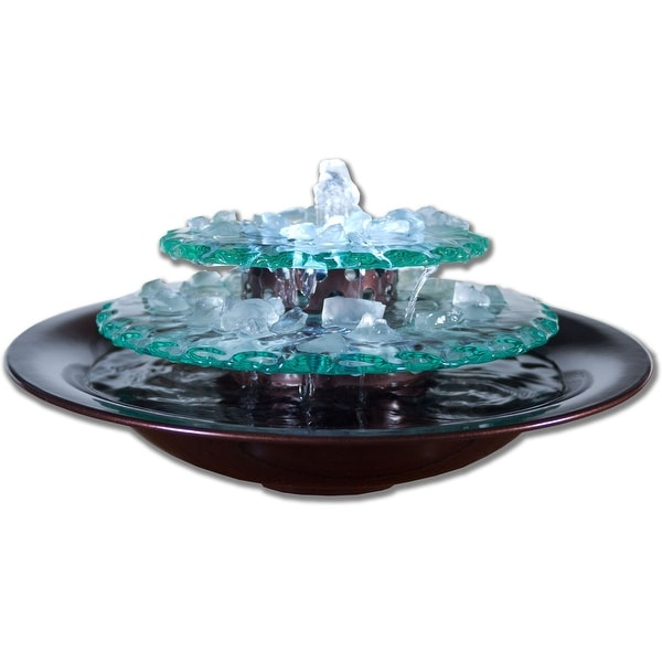 Moonlight Tabletop Fountain with Dark Copper Finish Bowl and LED Light
