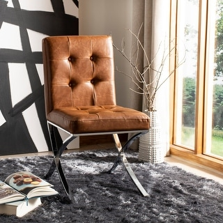 "Safavieh 18.25"" Walsh Tufted Side Chair - Light Brown / Chrome - 18.5"" x 23"" x 35"""