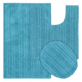 Grand Isle 3pc Washable Bathroom Rug Set