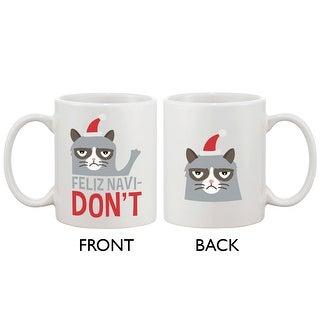 Cute Grumpy Cat Holiday Coffee Mug - Feliz Navidon't Funny Coffee Mug Cup