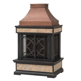 Sunjoy Heirloom Slate Wood Copper Burning Fireplace