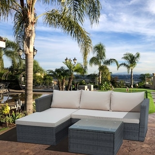 Maypex 3 PC Wicker Outdoor Corner Lounge Seating Set with Cushions