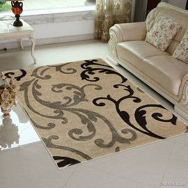 "Champagne AllStar Rugs with Brown Floral Design Modern Geometric Area Rug (5' 2"" x 7' 2"")"