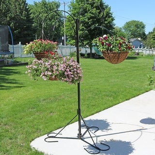 "Sunnydaze 4-Arm Hanging Flower Plant Basket Stand with Adjustable Arms 84"" Tall"