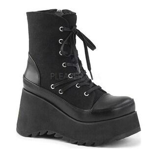 Demonia Women's Scene 50 Lace-Up Platform Ankle Boot Black Vegan Leather/Canvas