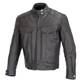 Men Motorcycle Biker Cruiser Leather Jacket Armor Black MBJ018