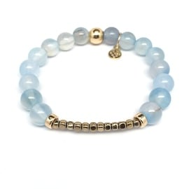 "Julieta Jewelry - 14k Gold Over Sterling Silver 8mm Aquamarine, Gold Hematite Accent 'Luminary' 7""Stretch Bracelet"