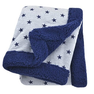 Just Born Plush Blanket in Navy and Heather Grey - blue stars - One Size