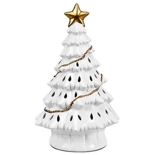 Costway 11''Pre-Lit Ceramic Christmas Tree Tabletop Lights White