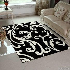 "Black AllStar Rugs with White Floral Design Modern Geometric Area Rug (3' 9"" x 5' 1"")"