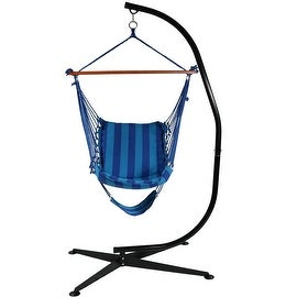 Sunnydaze Hanging Soft Cushioned Hammock Chair with Footrest, 26 Inch Wide Seat