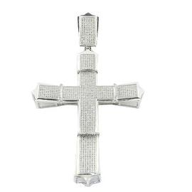 10K White Gold Diamond Cross Pendant Mens 1cttw 94mm Tall (i2/i3, I/j)