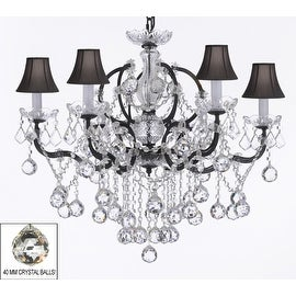 19th Rococo Iron & Empress Crystal Chandelier Lighting With Black Shades