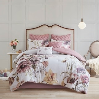 Madison Park Gisele Blush 8 Piece Cotton Printed Comforter Set