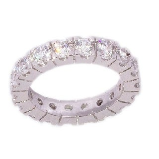 Silver CZ Eternity Band Stackable Ring by Simon Frank Designs