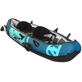Elkton Outdoors Inflatable 10' Foot Inflatable Tear Resistant Fishing Kayak With Double Sided Oars, Rod Holders, Foot Pump & Re