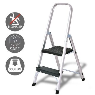 Gymax Folding Aluminum Ladder 2 Step Non-Slip Work Platform Stool