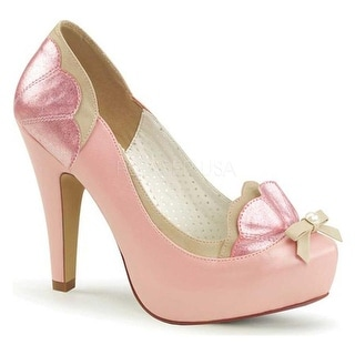 Pin Up Couture Women's Bettie 20 Hidden-Platform Pump Baby Pink-Tan Faux Leather