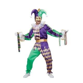 California Costumes Festive Mardi Gras Jester Adult Costume - Purple/Green/Gold