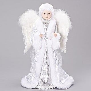 "17"" White and Silver Sequin Angel Christmas Tree Topper"