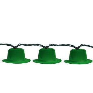 Set of 10 Irish Leprechaun Hat St. Patrick's Day Novelty Lights - Green Wire
