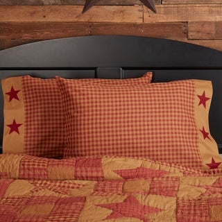 Ninepatch Star Pillow Case with Appliqued Border Set