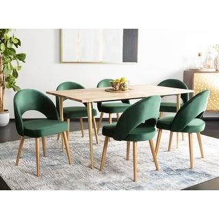"Safavieh Dining Giani Retro Malachite Green/ Gold Dining Chair (Set of 2) - 21.3"" x 24.3"" x 31.8"""