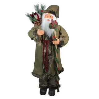 """51"""" Olive Green and Burgundy Red Standing Santa Claus with Gift Bag Christmas Figurine"""