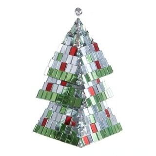 """5"""" Silver and Green Mirrored Mosaic Triangular Tiered Christmas Tree Ornament"""