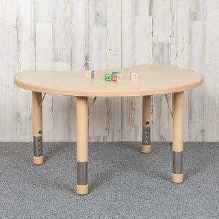 25.125''W x 35.5''L Height Adjustable Cutout Circle Plastic Activity Table with Top