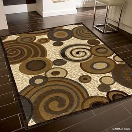 "Allstar Brown / Beige High End Drop Stitch Woven Circles Area Rug (5' 2"" x 7' 2"")"