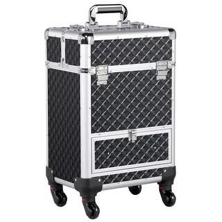 Aluminum Cosmetic Case Rolling Makeup Train Case - 360-Degree Rolling Wheels Barber Salon Lockable Travel Case Trolley