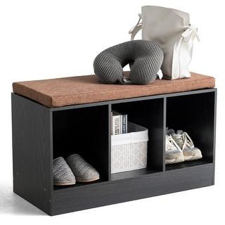 Costway 3-Cube Storage Box Organizer Shoe Bench w/ Padded Cushion