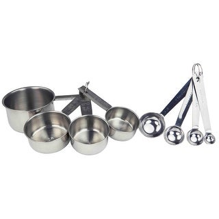 Home Basics 8-Piece Measuring Cup and Spoon Set, Silver