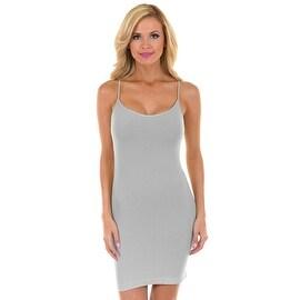GREY Womens Seamless Long Strechable Camisole Slip Dress