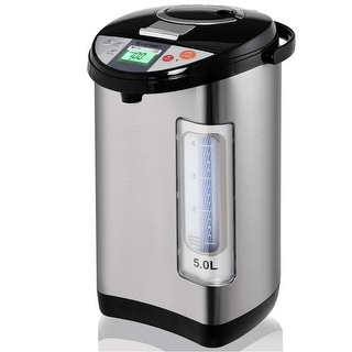 Costway 5-Liter LCD Water Boiler and Warmer Electric Hot Pot Kettle Hot Water Dispenser - black and metal silver