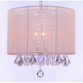 Crystal Chandelier Light Lighting fixture With Large Pink Shade