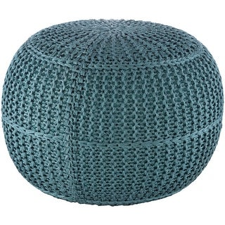 Cayson Indoor / Outdoor Knitted 20-inch Round Pouf