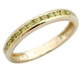 Brand New 0.51 Carat Round Brilliant Cut Yellow Diamond Anniversary Ring