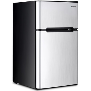 Costway Stainless Steel Refrigerator Small Freezer Cooler Fridge