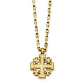 14k Gold IP Jerusalem Cross Necklace - 18in