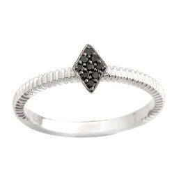 Brand New Round Brilliant Cut Genuine Black Diamond Stylist Ring